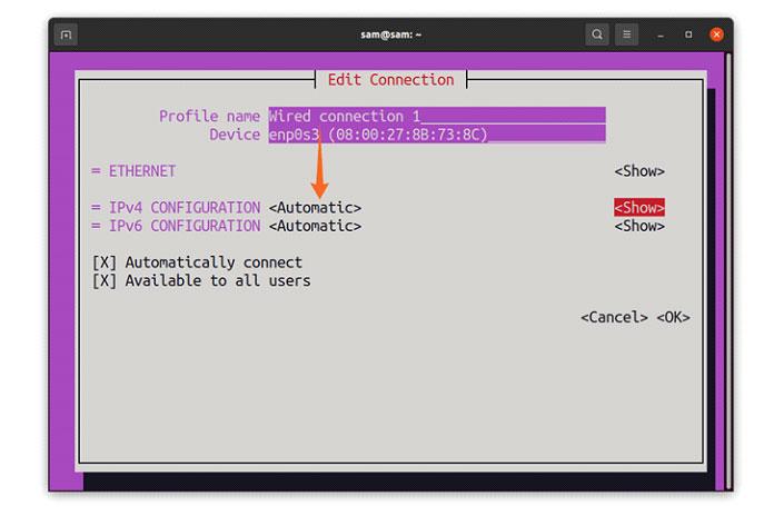Вы можете увидеть IP-конфигурацию как IPv4