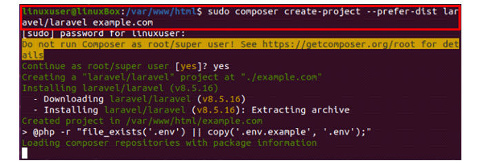 Замените example.com именем проекта повашему выбору
