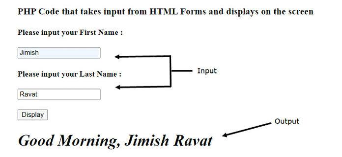 мы увидим один пример HTML-формы, которая собирает имя