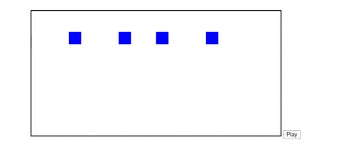 tick() Функция очищает экран и рисует все объекты в массиве каждые 200 мс
