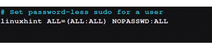 Чтобы установить sudo без пароля для определенного пользователя