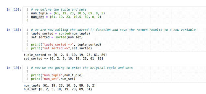 Функция sorted () также работает скортежами инаборами для сортировки элементов