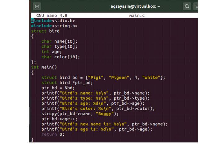 Компилятор gcc выполнил компиляцию вышеуказанного кода C