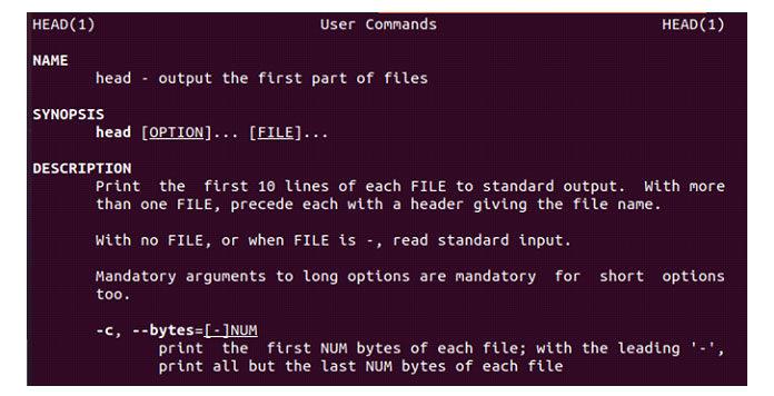 Linux предоставляет пользователю информацию окоманде head