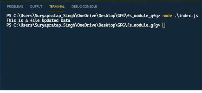 Метод fs.appendFileSync используется для обновления данных файла