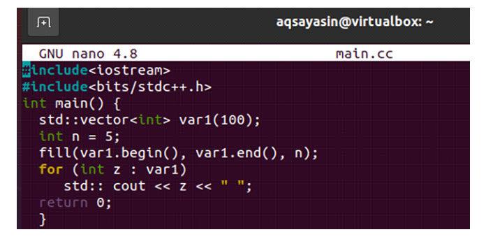 Мыобъявили вектор » var1 ″ размером 100с помощью оператора