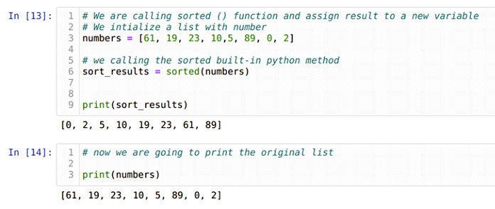 Мытакже можем присвоить результаты sorted () обратно новой переменной, как показано ниже