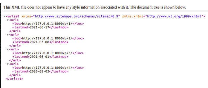 Окончательный XML-файл, состоящий извсех URL-адресов
