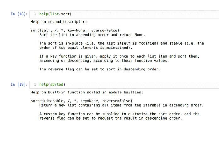 Основное различие между функциями sort () иsorted ()