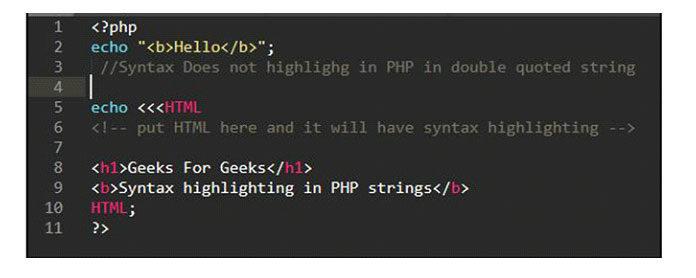 Подсветка синтаксиса внутри PHP String возможна спомощью Heredoc