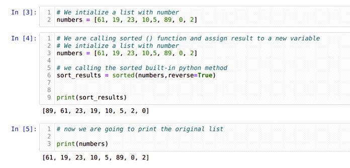 Теперь мыизменим параметр поумолчанию функции sorted ()