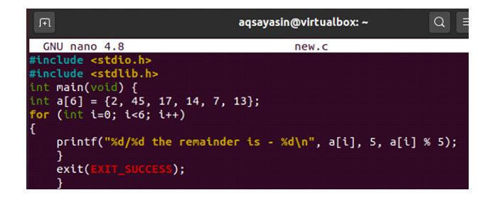 Вупомянутом коде мыопределили массив целочисленного типа с6