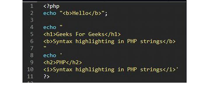 Выделение синтаксиса HTMLв строках PHP невозможно встроках содинарными или двойными кавычками