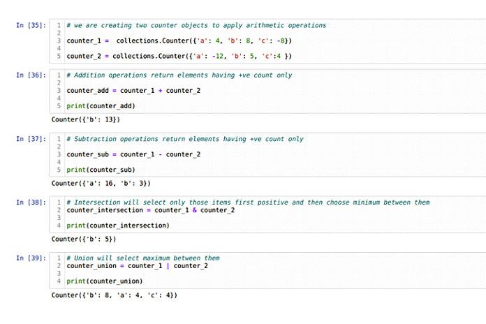 Арифметическая операция над объектом Counter
