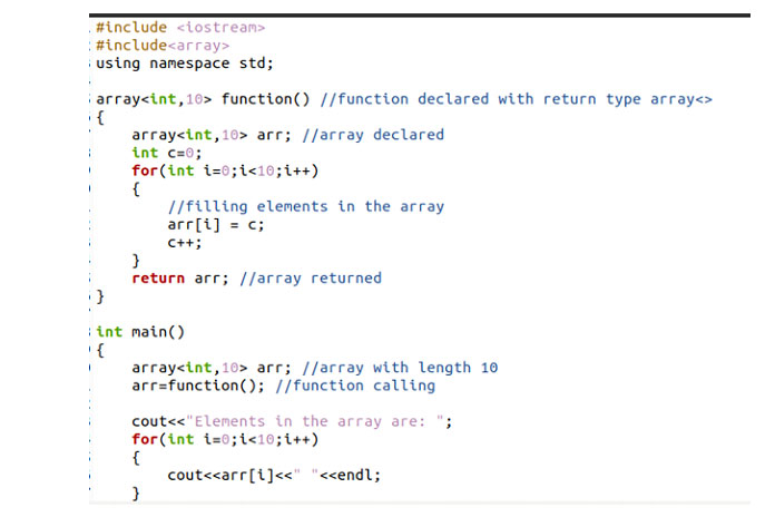 C ++ использует множество методов для возврата массива изфункции