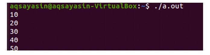 Давайте просто запустим файл, чтобы увидеть вывод массива наязыке C