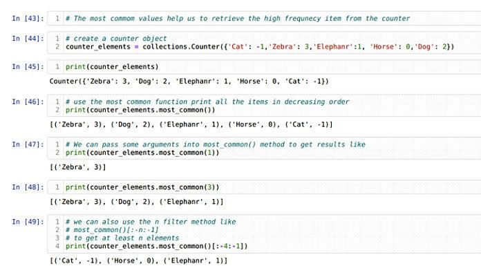 Доступ к общим элементам most_common (n)