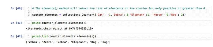 Метод elements () работает напротив объекта счетчика