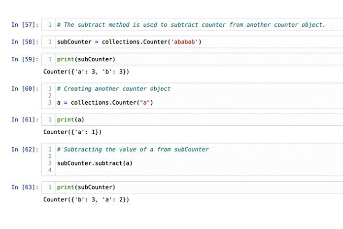 Метод вычитания используется для вычитания значения счетчика элементов изобъекта счетчика