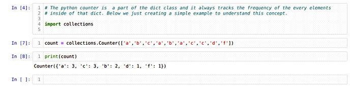 Мыможем создать объект счетчика, используя метод списка