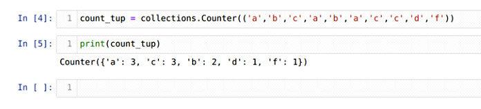 Мыможем создать объект счетчика, также используя кортеж, как показано ниже наскриншоте