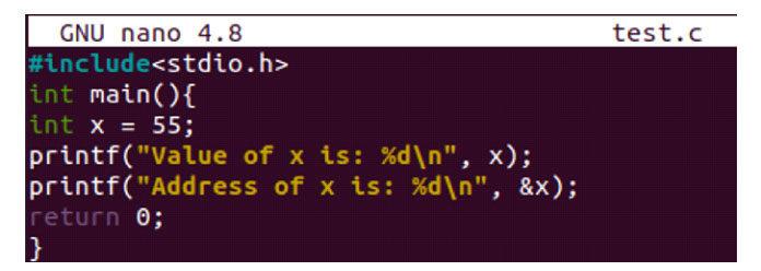 Мыобъявили переменную «x» иприсвоили ейзначение «55»