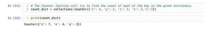 Мытакже можем создать объект счетчика, используя dict