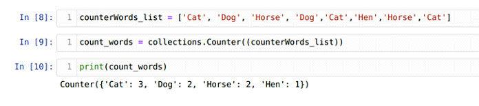 Мытакже можем создать объект счетчика, используя список строк