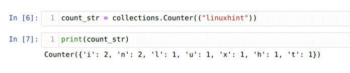 Мытакже можем создать объект счетчика, используя строковый литерал