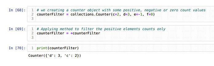 Мытакже можем удалить отрицательные или нулевые элементы счетчика объекта счетчика