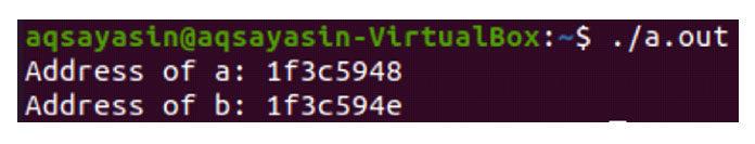 После выполнения кода Cмы получили адреса памяти для обеих переменных