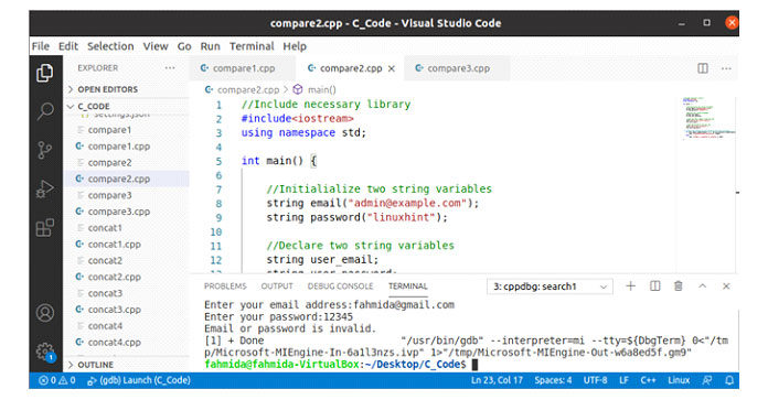 После выполнения кода, если пользователь ввел