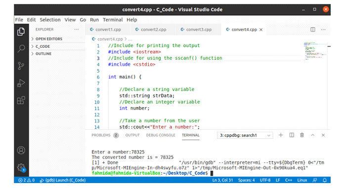 Следующий вывод появится, если 78325 будет принят вкачестве ввода после выполнения кода