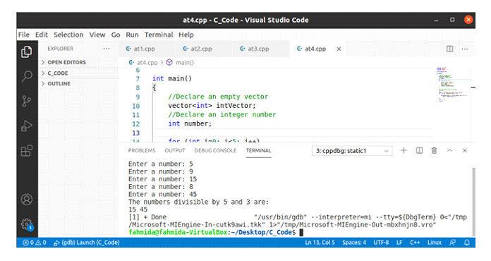 Следующий вывод появится после выполнения вышеуказанного кода для входных значений 5, 9, 15, 8и45