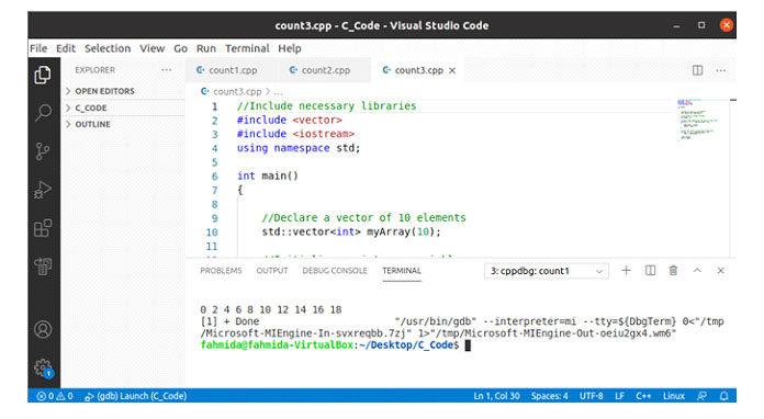Следующий вывод появится после выполнения вышеуказанного кода