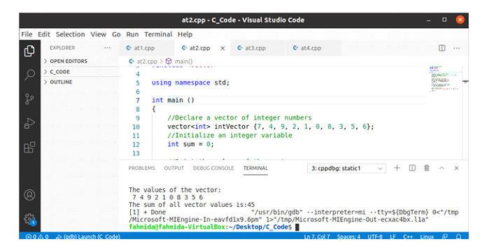 Способ вычисления суммы всех значений вектора, содержащего целые числа, показан вследующем примере