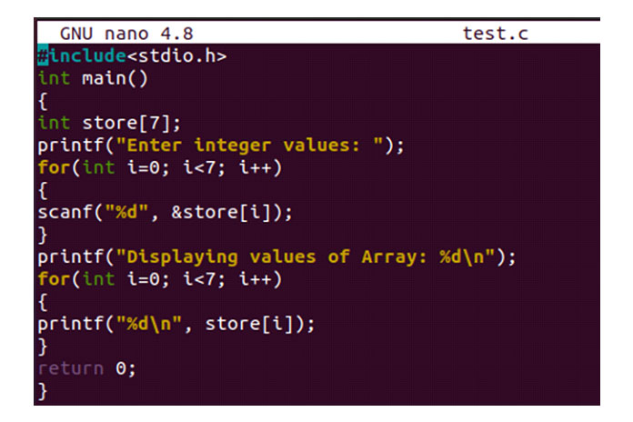 Теперь файл открыт вредакторе GNU nano
