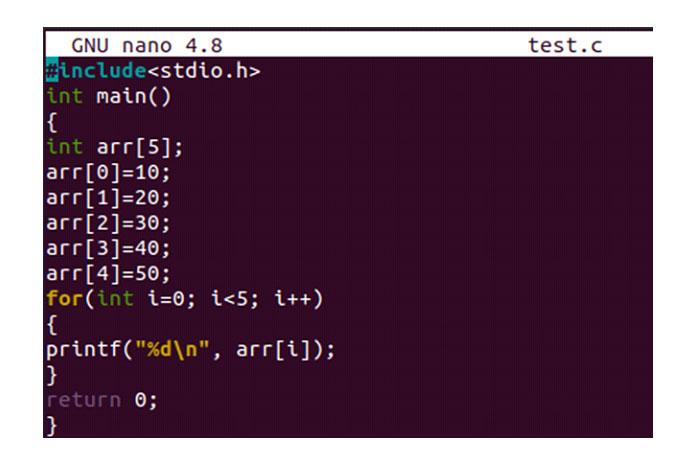 Теперь файл открыт вредакторе GNU