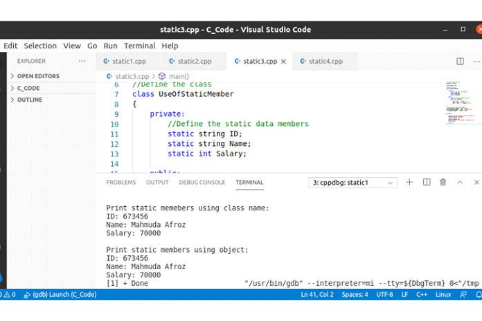В предыдущих двух примерах доступ к статической функции-члену класса осуществлялся
