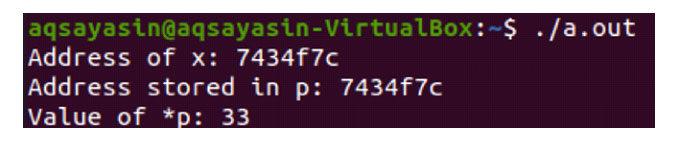 Выполнение этого кодаC показывает нам адрес памяти переменнойx