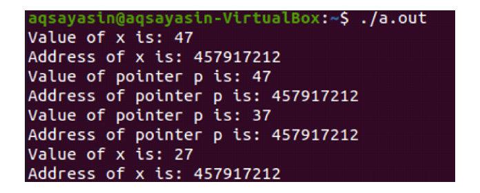 Выполнение этого кода дает нам обновленные значения обеих переменных «x»