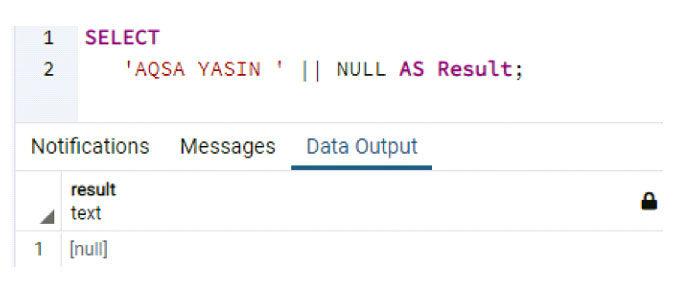 Давайте использовать тотже стиль конкатенации для появления строки иключевого слова NULL