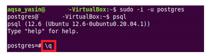 Для выхода изконсоли сервера PostgreSQL вам необходимо ввести