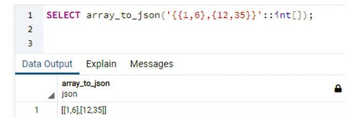 Этот метод использовался вPostgreSQL для преобразования массива вмассив массивов JSON