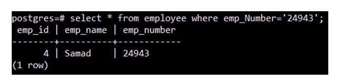 Этот запрос мгновенно отобразит выбранную запись, как показано наизображении ниже