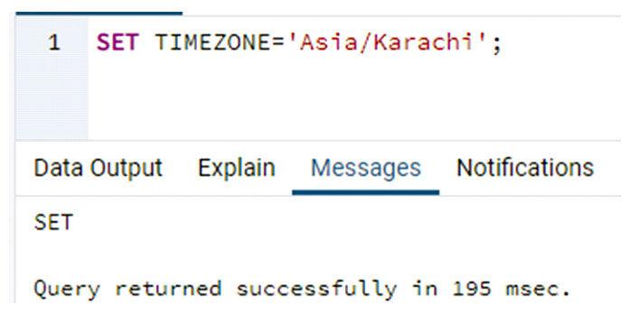 Карачи, используя ключевое слово TIMEZONE