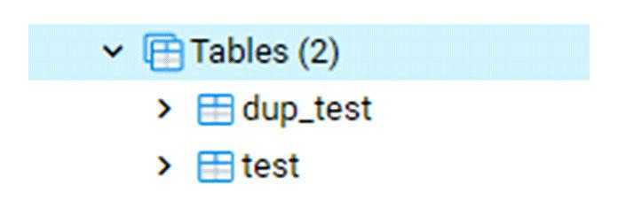 Когда вы исследуете список таблиц, он показывает