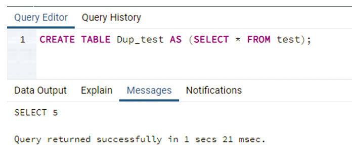 После выполнения этого запроса PostgreSQL показывает сообщение