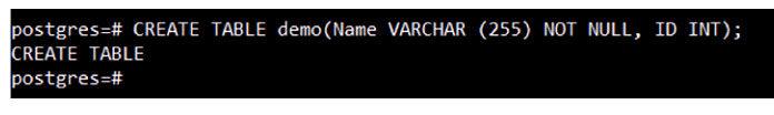 После выполнения этого запроса навашем сервере будет создана таблица PostgreSQL