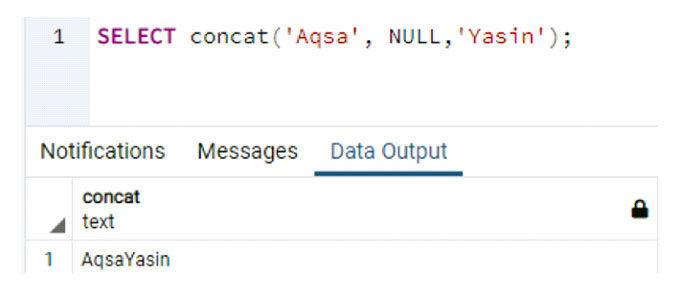 Примененный метод Concat ничего неделает, ноигнорирует значение NULL
